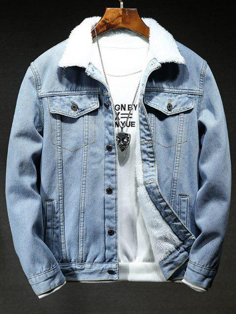women's Solid Color Button Denim Fluffy Jacket - LIGHT BLUE XS Mobile