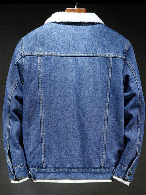 new Solid Color Button Denim Fluffy Jacket - DENIM DARK BLUE S Mobile
