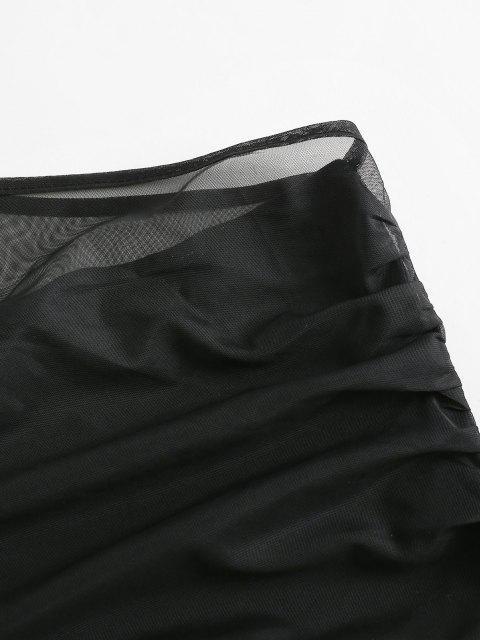 lady ZAFUL Mesh Panel One Shoulder Crop Tank Top - BLACK L Mobile
