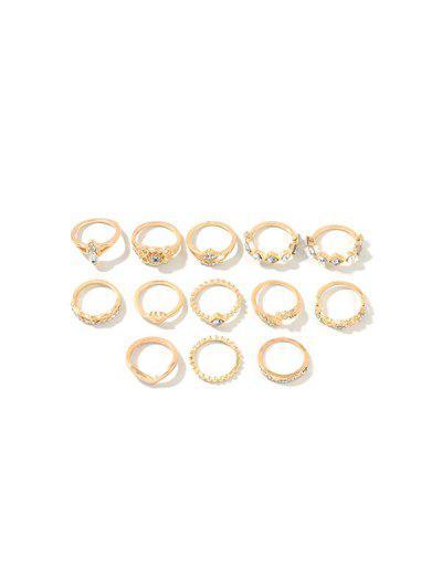 13Pcs Hollow Rhinestone Heart Ring Set