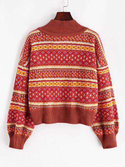 ZAFUL Mock Neck Intarsia Knit Graphic Jumper Sweater - Multi M