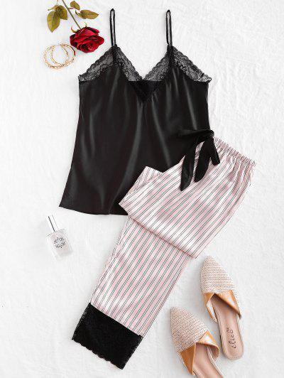 Lace Insert Striped Cami Pajama Pants Set - Black M
