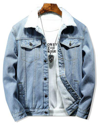 Solid Color Button Denim Fluffy Jacket - Light Blue M