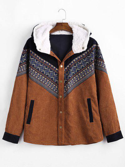 Tribal Geometric Chevron Spliced Fluffy Hooded Jacket - Brown M