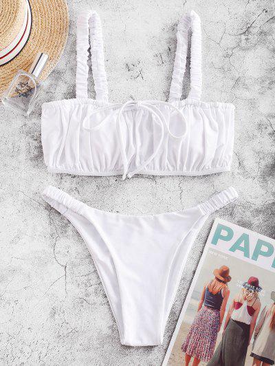 ZAFUL Elastic Straps Ruched Bikini Swimsuit - White S