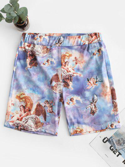 Angel Print Skinny Shorts