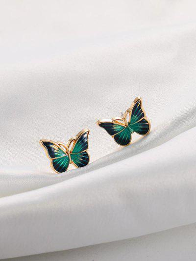 Drops Oil Butterfly Stud Earrings - Green
