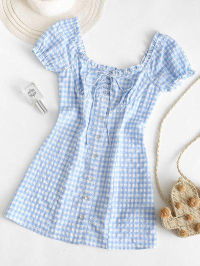 ZAFUL Buttoned Smocked Gingham Sheath Dress - Light Blue M