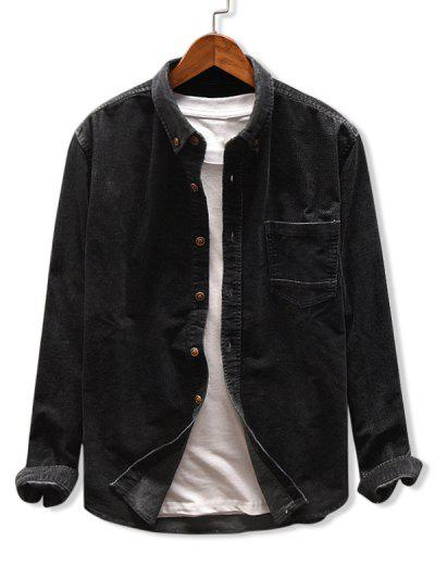Camisa De Veludo De Bolso De Cor Sólida - Preto L