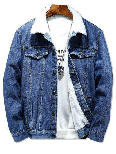 Solid Color Button Denim Fluffy Jacket - Denim Dark Blue M