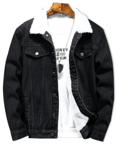 Solid Color Button Denim Fluffy Jacket - Black M