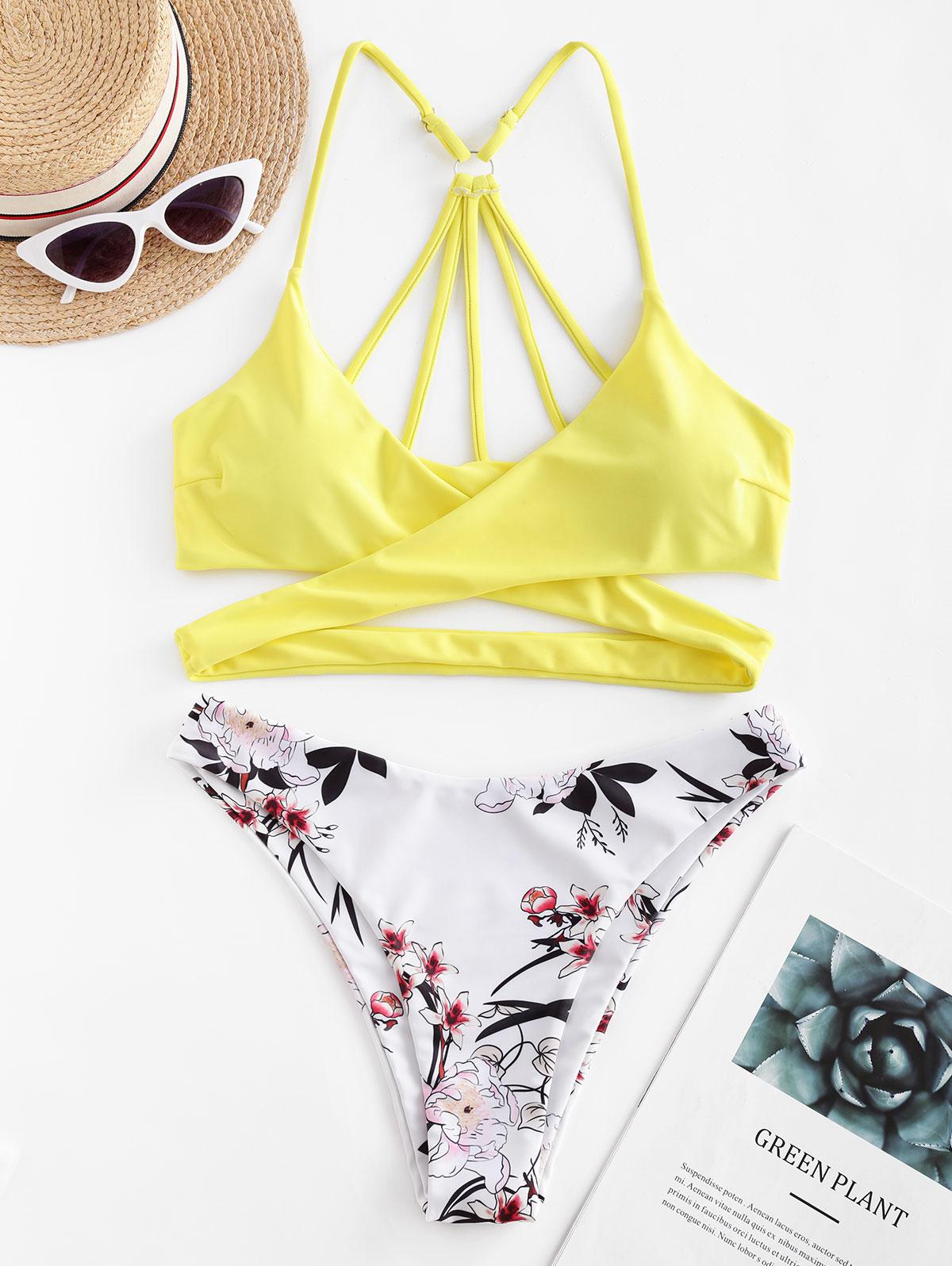 ZAFUL Floral Strappy Wrap Bikini Swimsuit фото