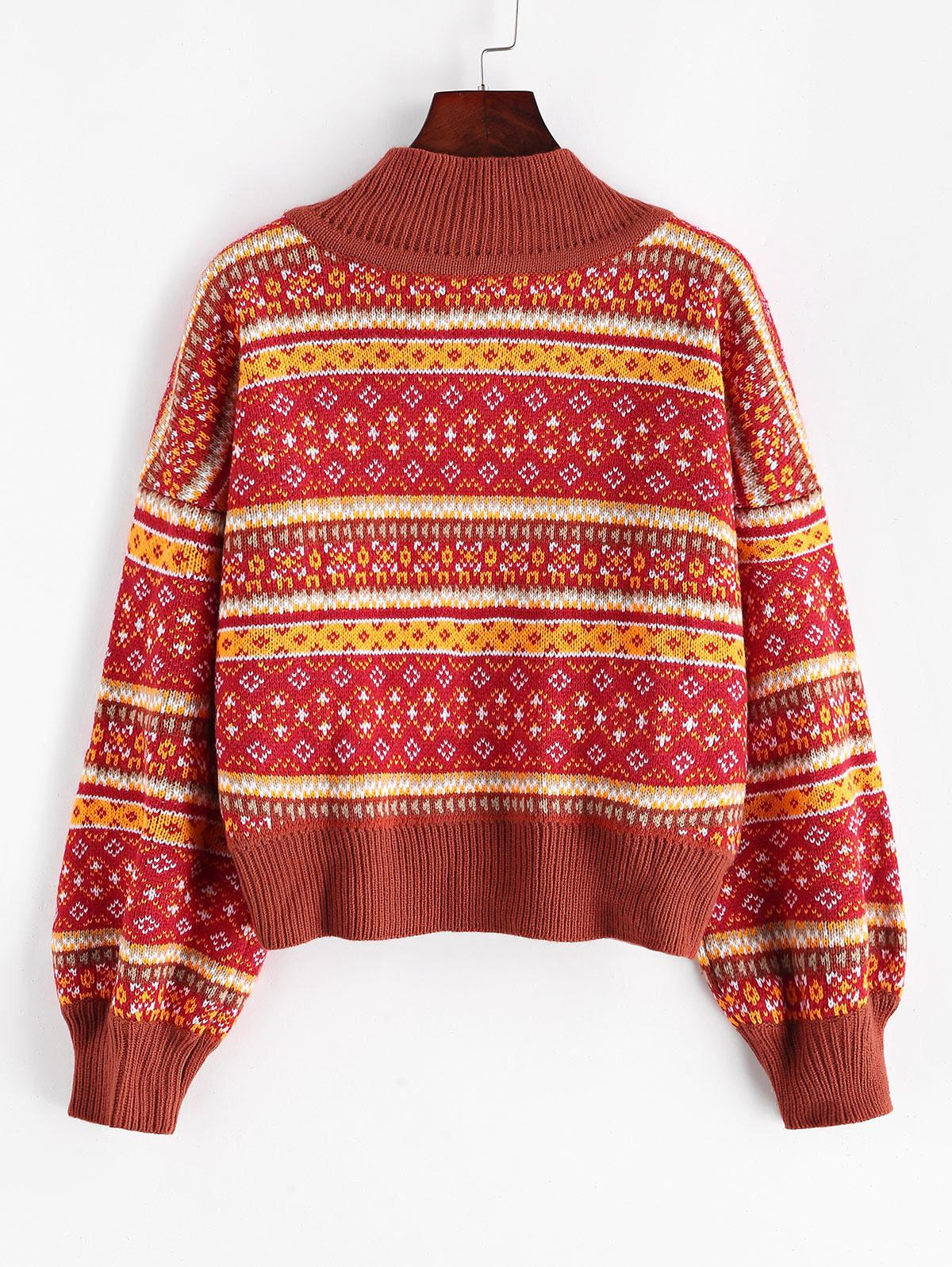 ZAFUL Mock Neck Intarsia Knit Graphic Jumper Sweater
