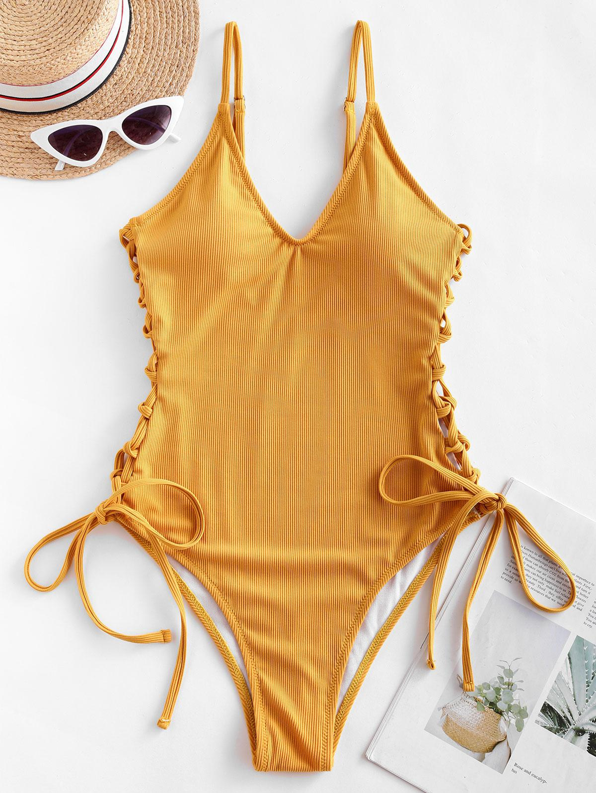 ZAFUL Ribbed Side Lace Up One-piece Swimsuit фото
