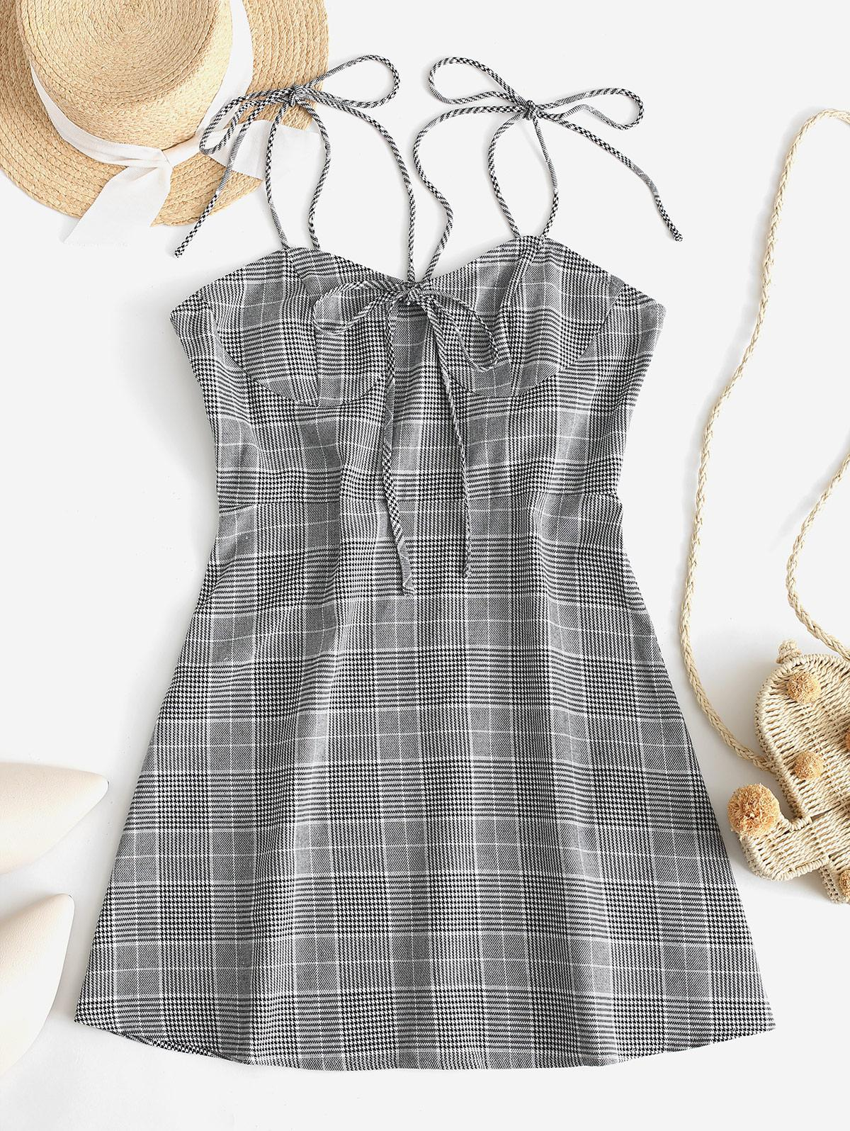 ZAFUL Glen Plaid Knotted Tie Shoulder Dress фото