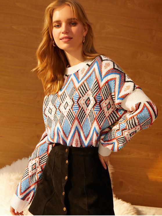 Geométrica Crew gráfico cuello suéter de punto - Multicolor Talla única