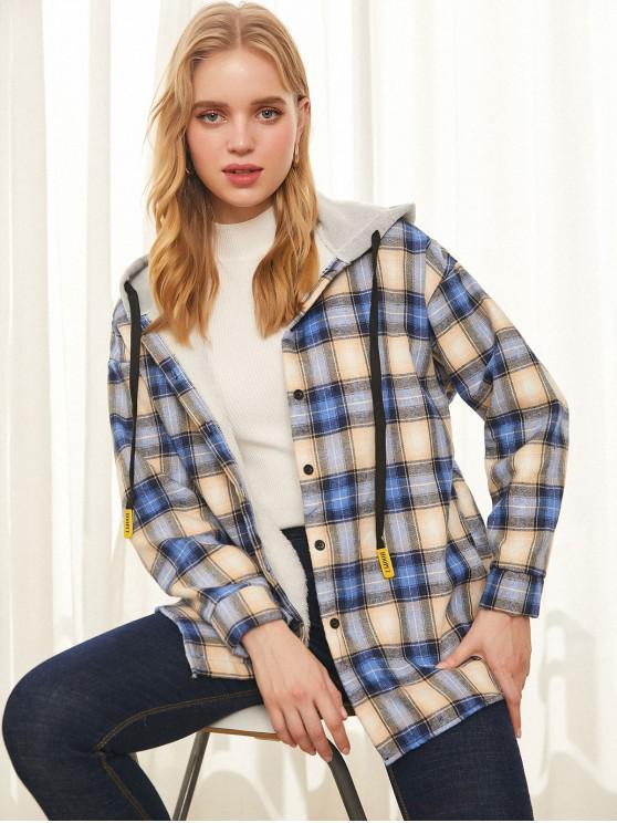 fashion Plaid Hooded Drop Shoulder Jacket - MULTI M