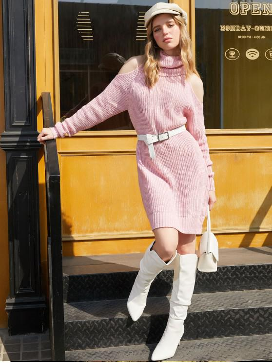 women's Turtleneck Cold Shoulder Raglan Sleeve Sweater Dress - PINK M