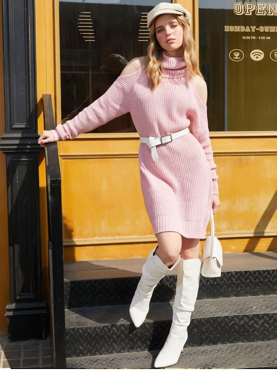 shops Turtleneck Cold Shoulder Raglan Sleeve Sweater Dress - PINK XL