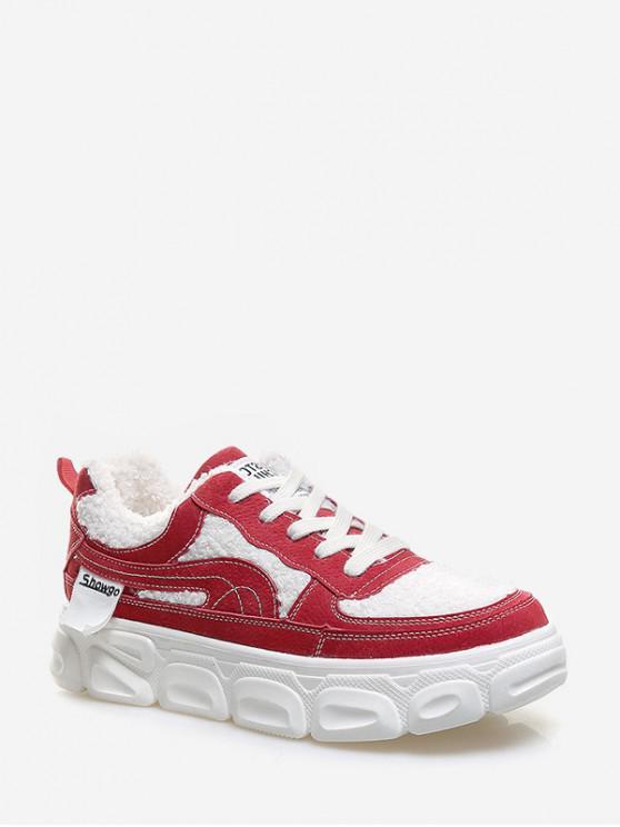 รองเท้าขน Faux แผงแพลตฟอร์มสเก็ต - ลาวาสีแดง EU 35