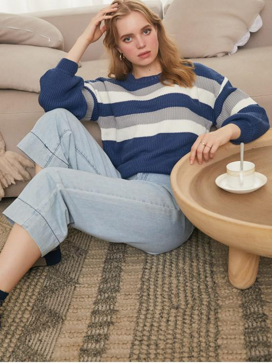 best Contrast Stripe Drop Shoulder Sweater - BLUE L