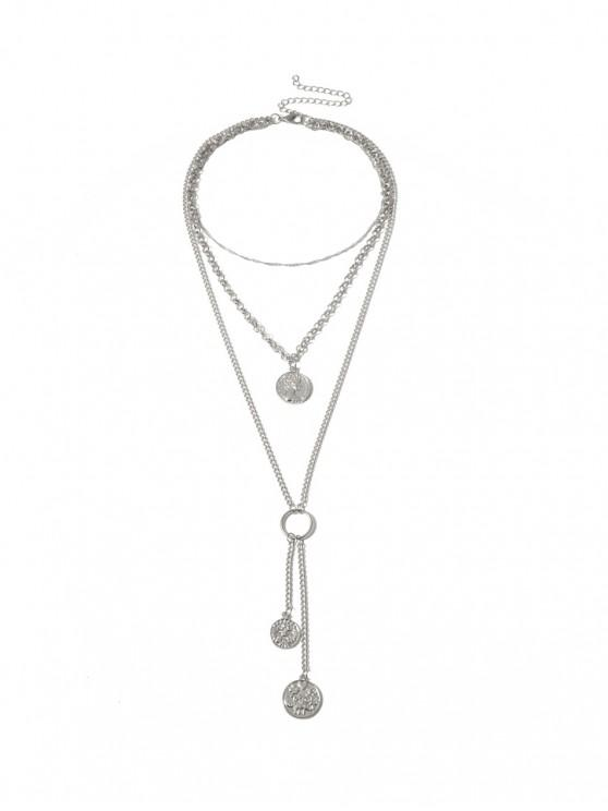 trendy Coin Pendant Tassel Layers Necklace - SILVER