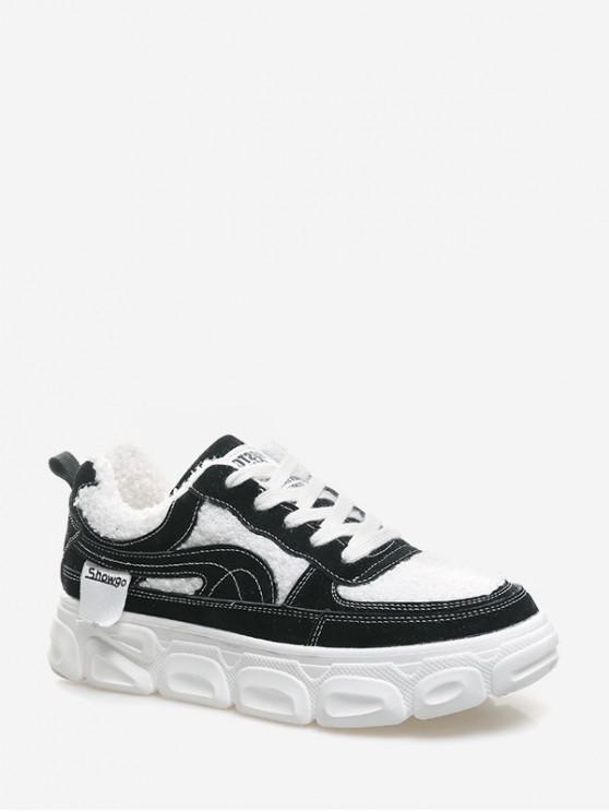 รองเท้าขน Faux แผงแพลตฟอร์มสเก็ต - สีดำ EU 39