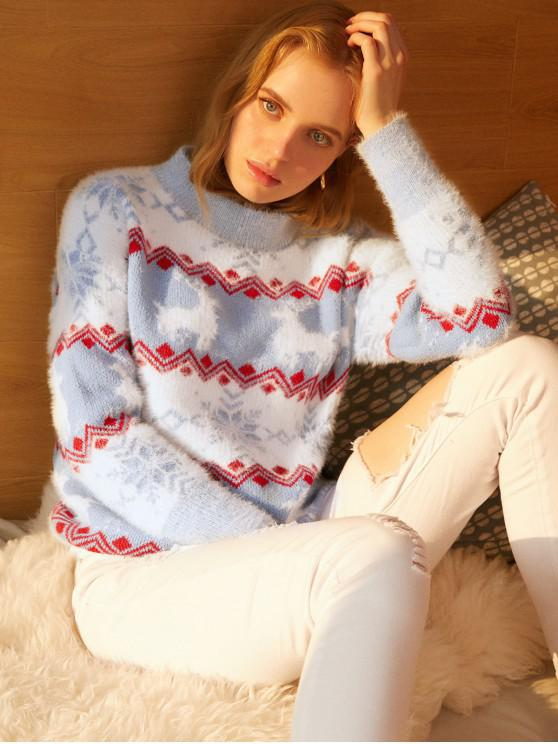 trendy Mock Neck Elk Snowflake Graphic Christmas Sweater - DAY SKY BLUE ONE SIZE