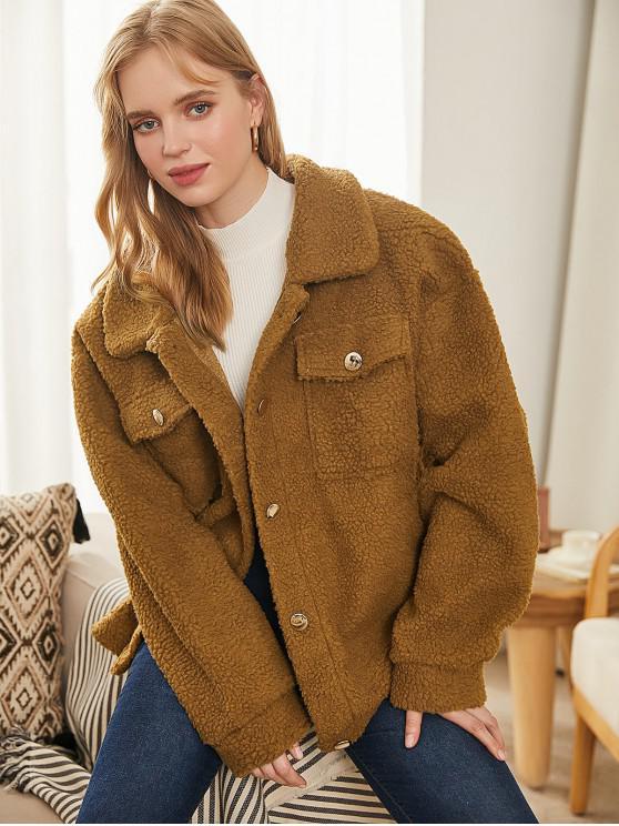 fashion Faux Shearling Flap Pocket Fluffy Teddy Coat - BROWN XL