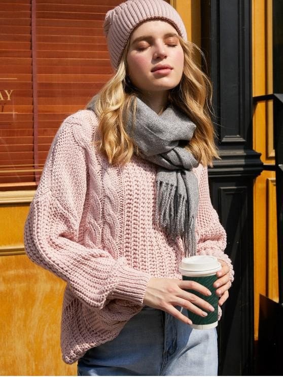 new Drop Shoulder Cable Knit Cut Out Back Sweater - ROSE ONE SIZE