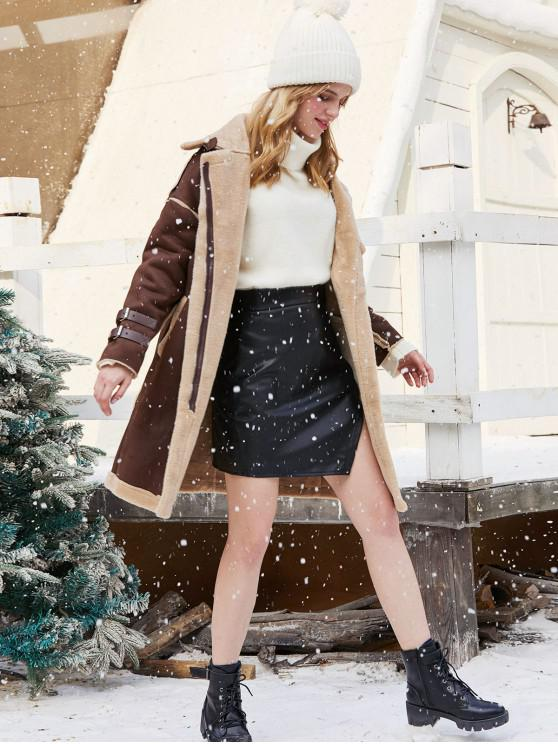 shops Faux Suede Fluffy Fur Lined Belted Cuff Zip Long Coat - COFFEE S