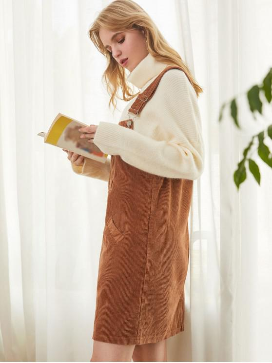 best Corduroy Pocket Slit Straight Pinafore Dress - BROWN M