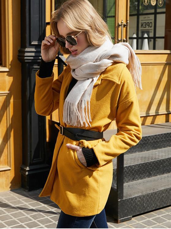 Manteau Boutonné en Couleur Unie avec Poches - Jaune XL