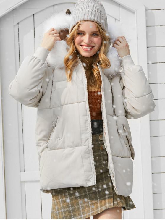 shops Flap Pocket Puffer Coat with Faux Fur Hood - BEIGE M