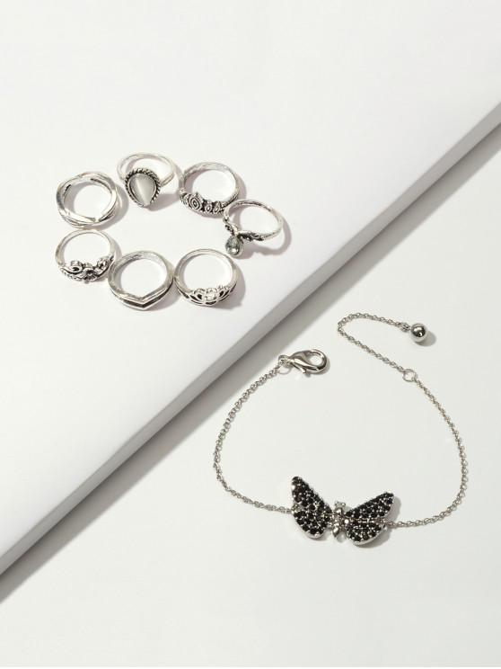 outfits Crown Floral Ring And Butterfly Chain Bracelet Set - SILVER
