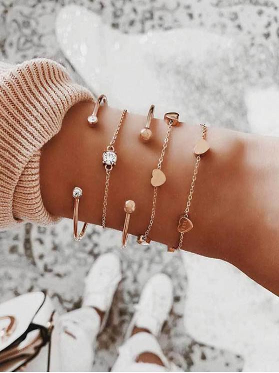 unique Heart Rhinestone Chian Cuff Bracelets Set - GOLD