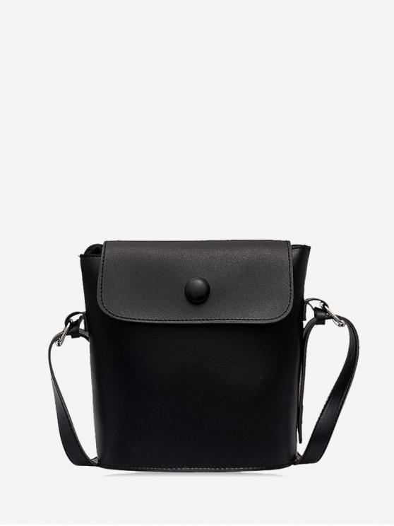 buy Flap PU Leather Sling Bucket Bag - BLACK