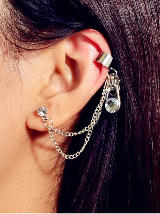 online Rhinestone Zipper Design Ear Cuff - SILVER