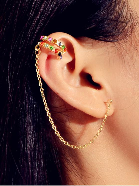 new Rhinestone Chain Stud Ear Cuff - GOLD
