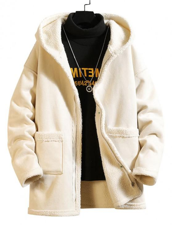 lady Solid Color Pocket Zipper Fluffy Coat - WHITE 4XL