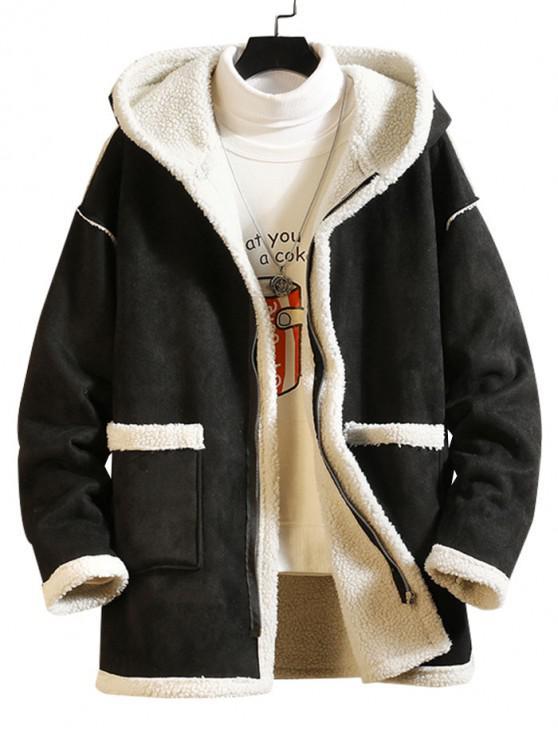 trendy Solid Color Pocket Zipper Fluffy Coat - BLACK 3XL