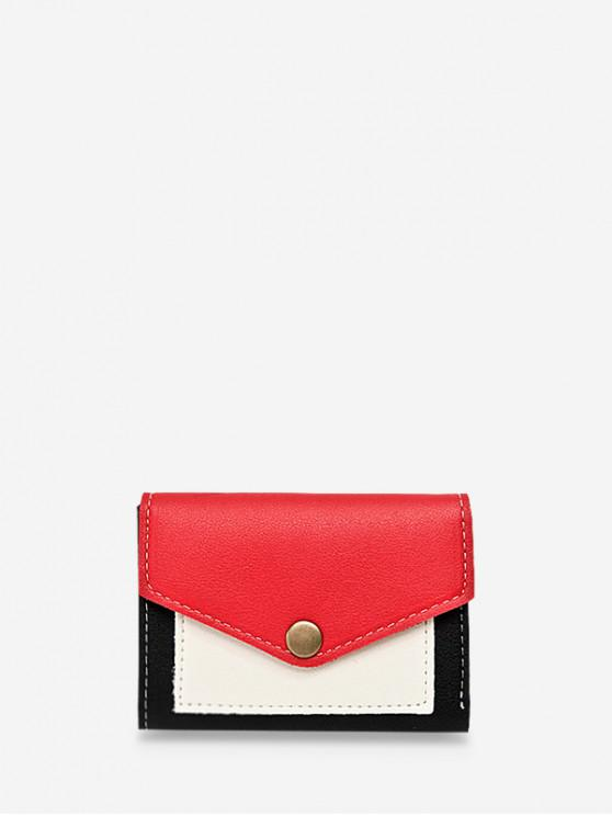 buy Color-blocking Flap Mini Coin Purse - ROSSO RED