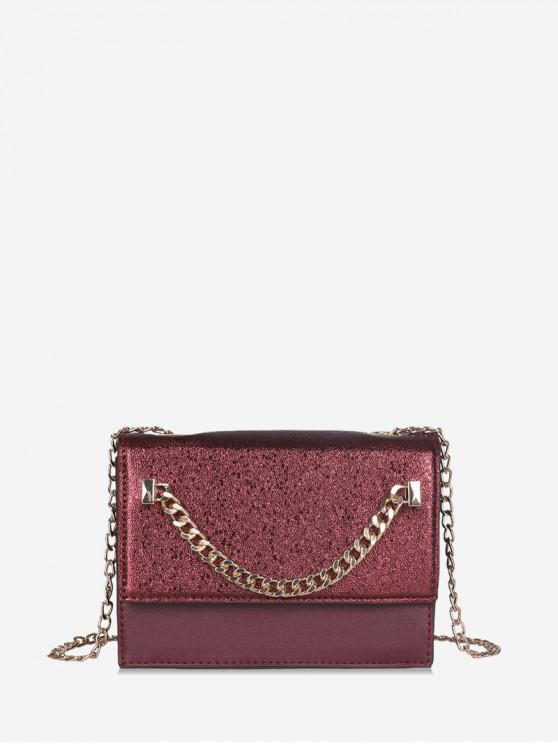 ladies Rectangle Chain Cover Crossbody Bag - RED WINE