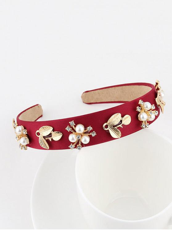 new Floral Leaf Faux Pearl Wide Hairband - RED