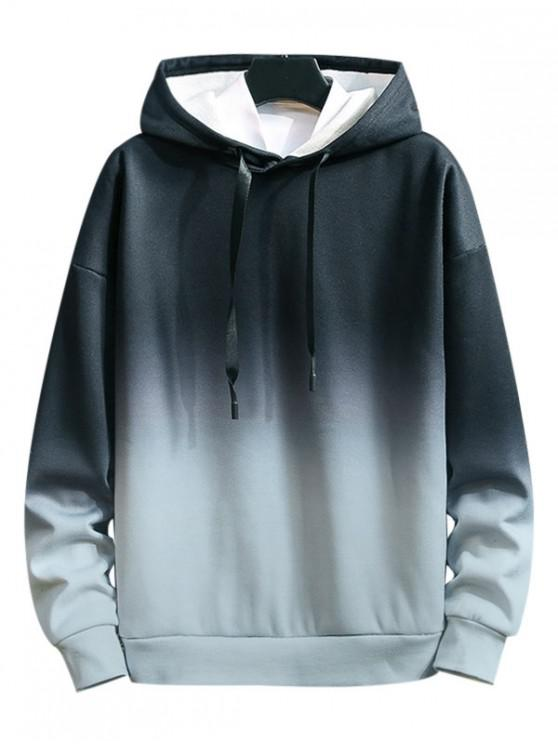 hot Ombre Tie Dye Printed Casual Hoodie - BLACK XL