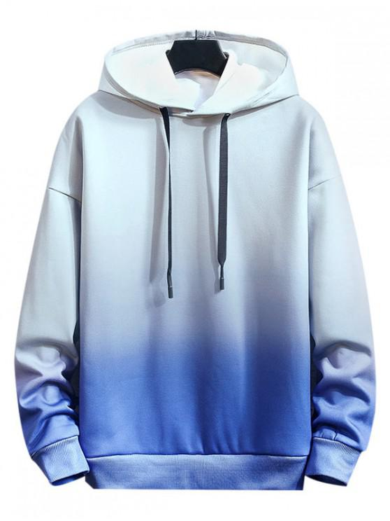 chic Ombre Tie Dye Printed Casual Hoodie - BLUE XL