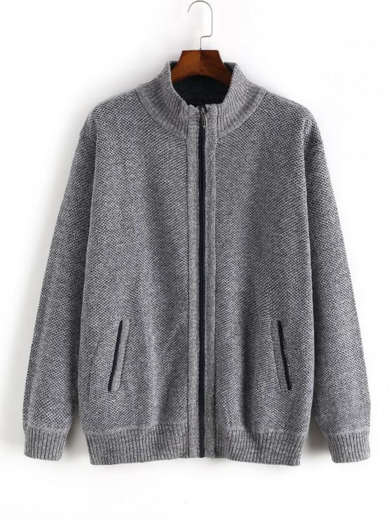 latest Heathered Casual Zip Up Knitted Jacket - LIGHT GRAY XS
