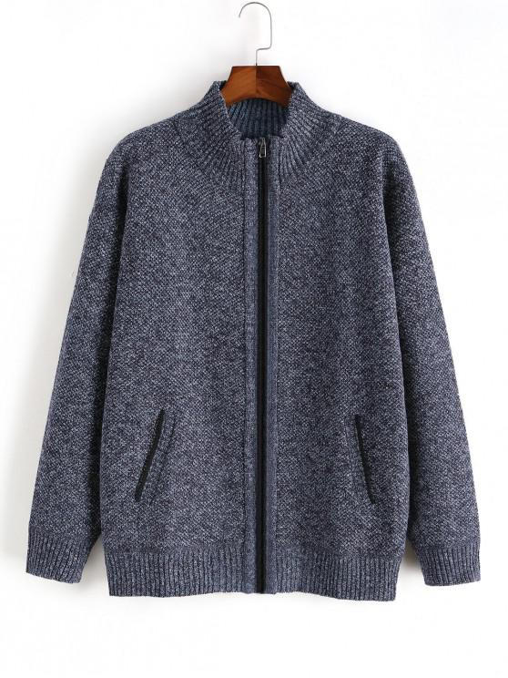 unique Heathered Casual Zip Up Knitted Jacket - CADETBLUE M