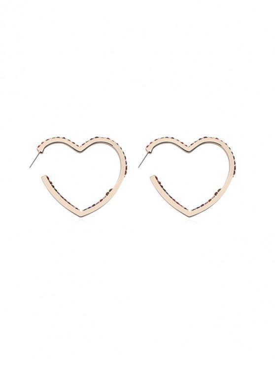buy Heart Shape Rhinestone Stud Earrings - GOLD