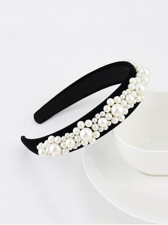 人造珍珠絲絨寬發帶 - 黑色